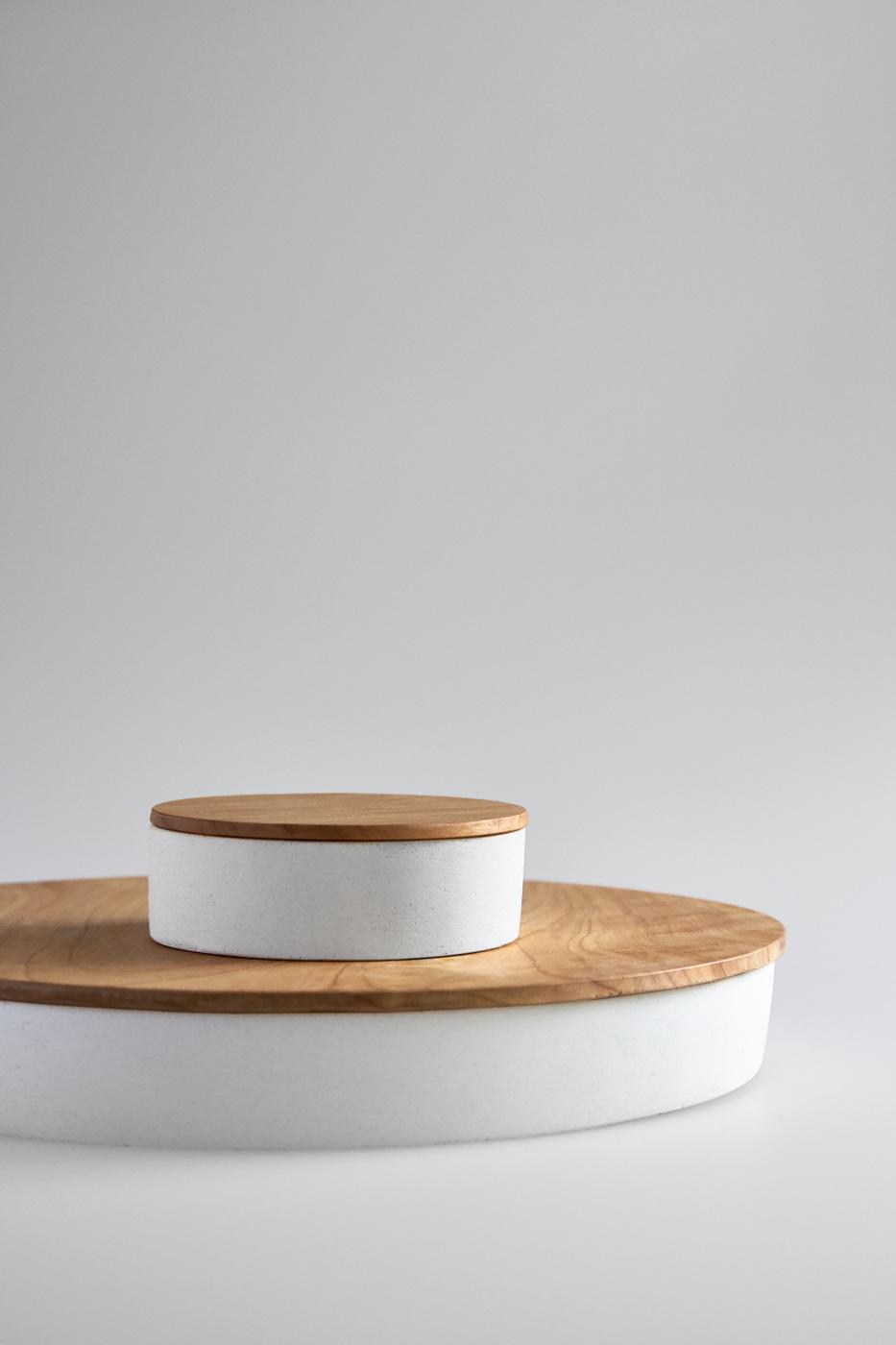 White Small Round Concrete Container Studiokyss